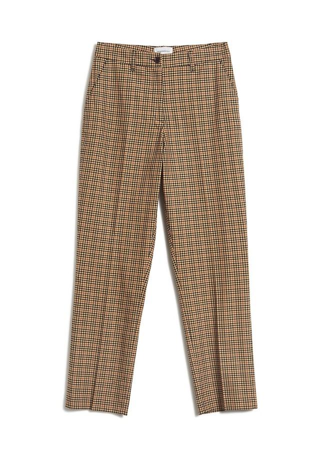 Pantalon à pinces carreaux marron en tencel - herttaa check - Armedangels num 4