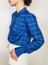 Chemise mao carreaux bleus - Les Récupérables - 2
