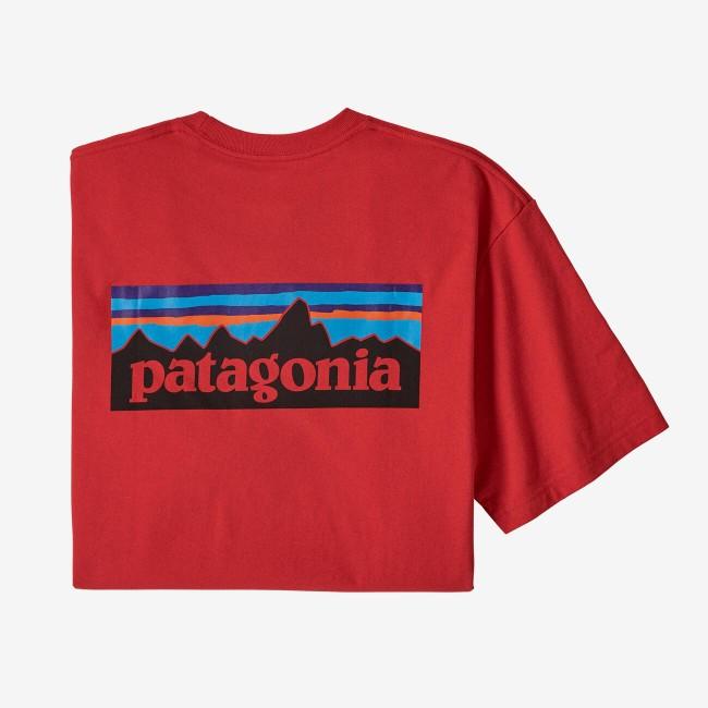 T-shirt imprimé rouge en coton et polyester recyclés - p6 logo responsibili-tee - Patagonia num 1