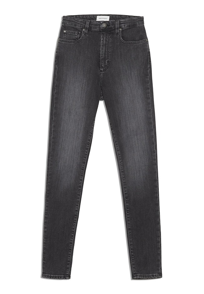 Jean skinny taille haute gris délavé en coton bio - ingaa - Armedangels num 4