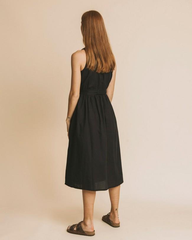 Robe midi noire en coton bio - black jolie - Thinking Mu num 2
