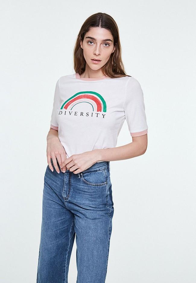 T-shirt imprimé blanc en coton bio - emmaa diversity - Armedangels