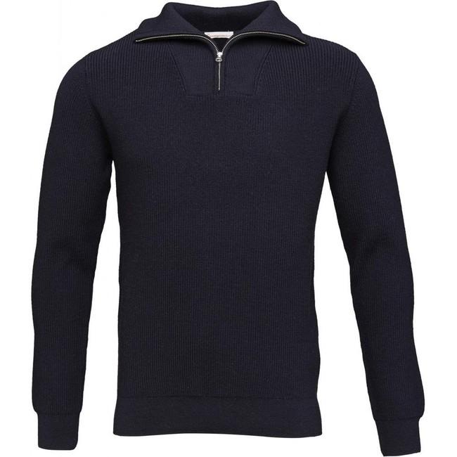 Pull col zippé marine en coton et laine bio - valley - Knowledge Cotton Apparel