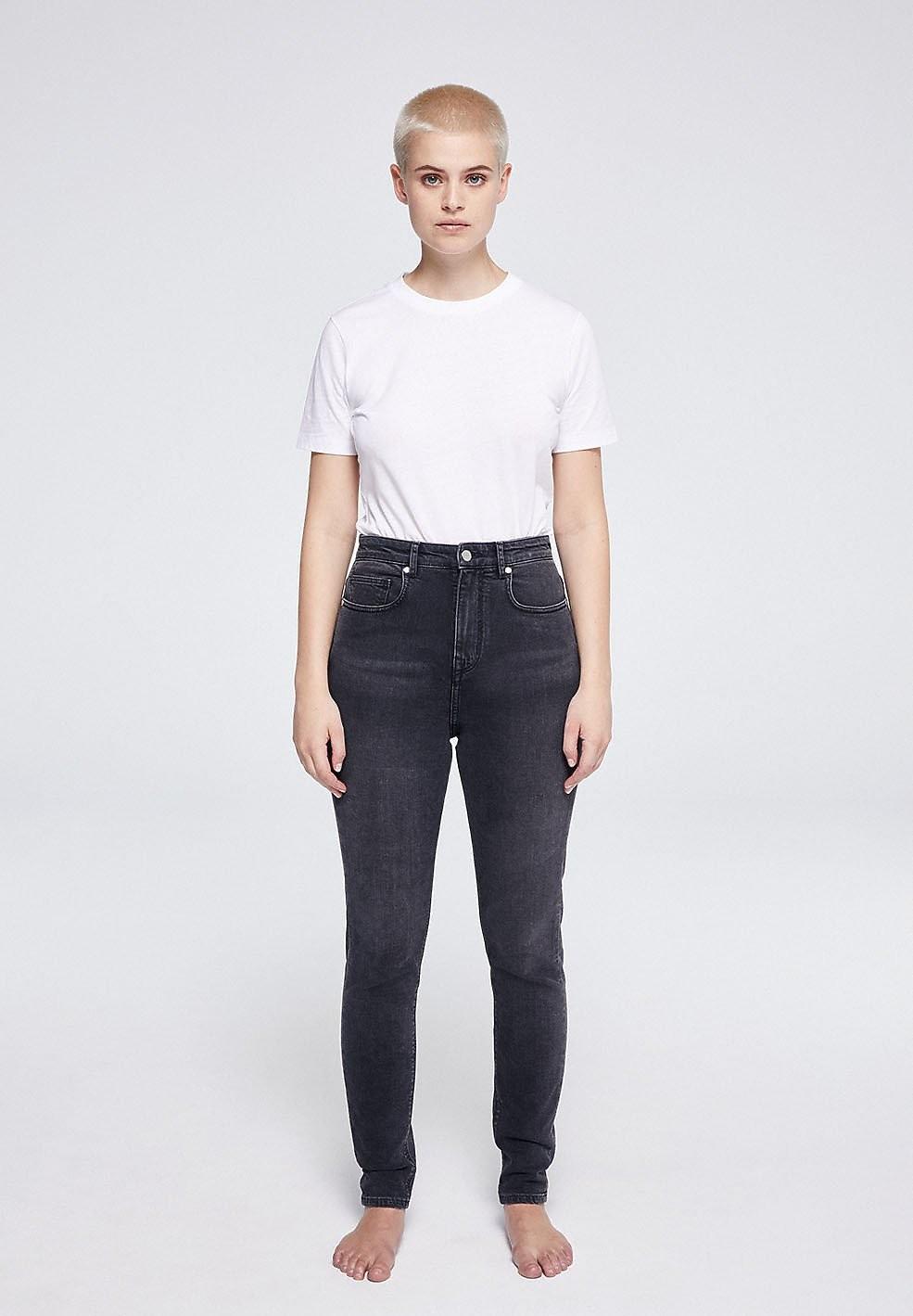 Jean skinny taille haute gris délavé en coton bio - ingaa - Armedangels