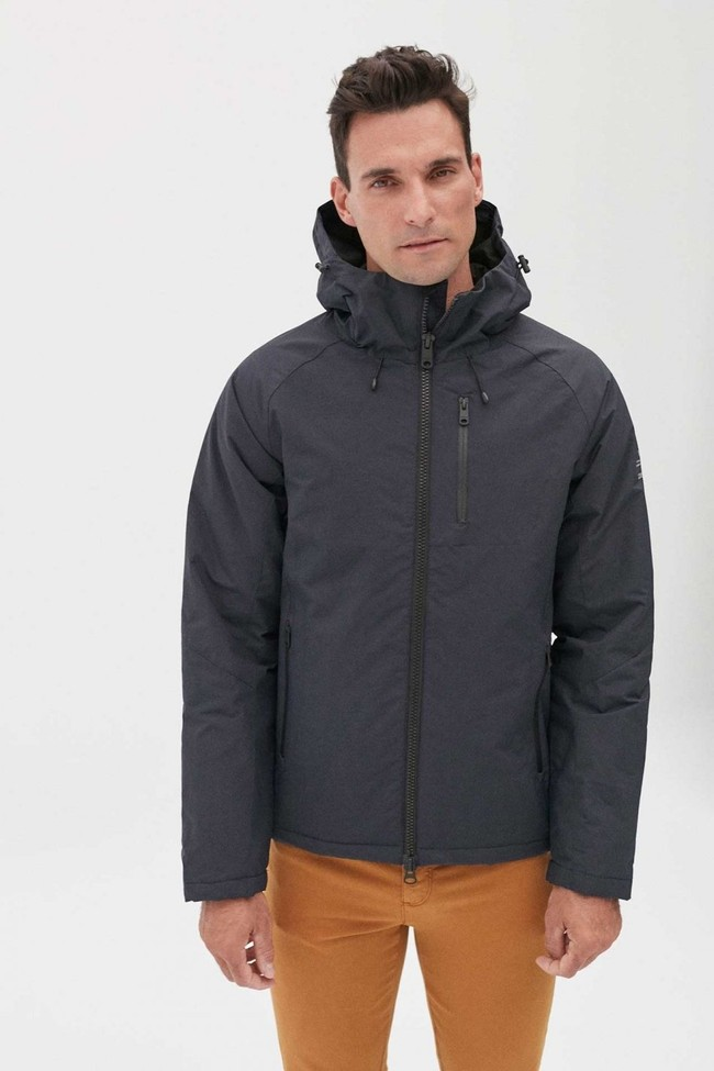 Manteau à capuche bleu marine en nylon recyclé - kilimanjaro - Ecoalf