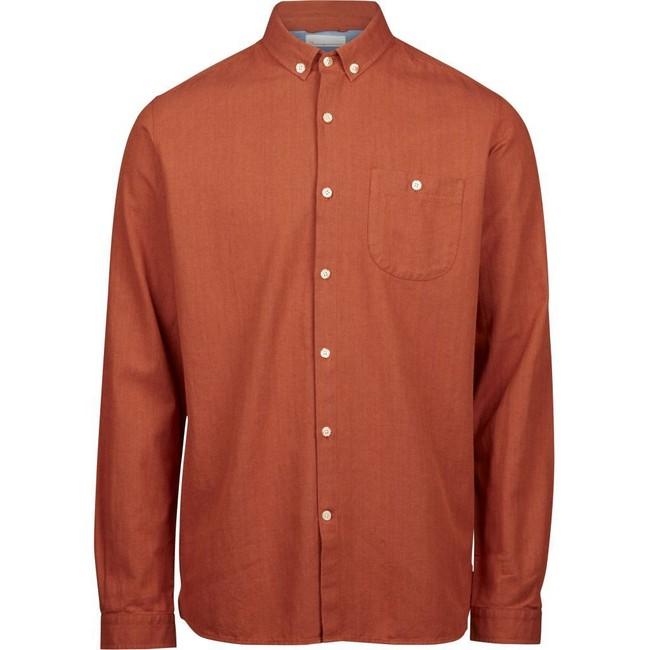 Chemise orange en coton bio - melange effet flanelle - Knowledge Cotton Apparel
