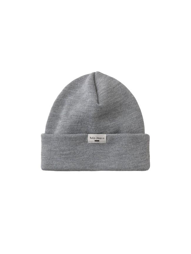 Bonnet gris en polyester recyclé et laine mérinos - jansson - Nudie Jeans