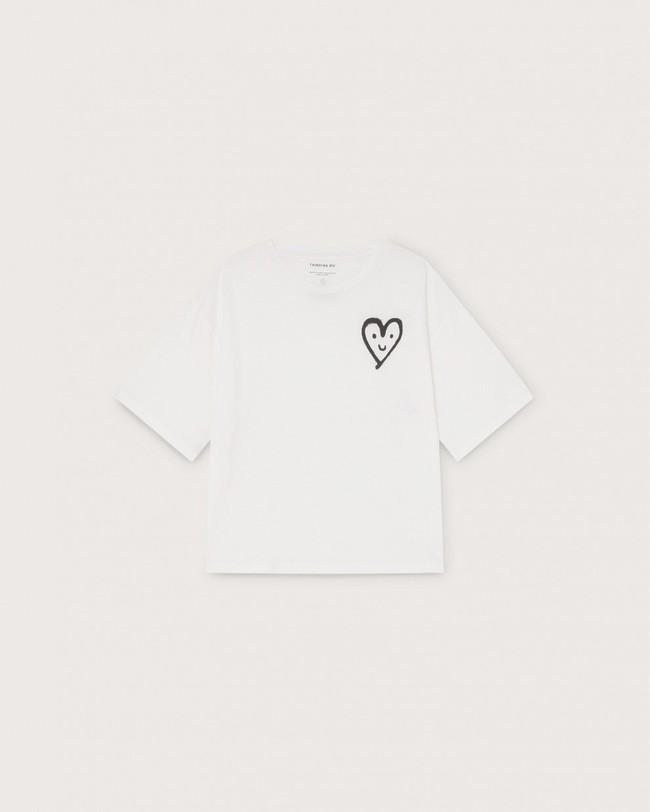 T-shirt imprimé blanc en coton bio - cute heart - Thinking Mu num 3
