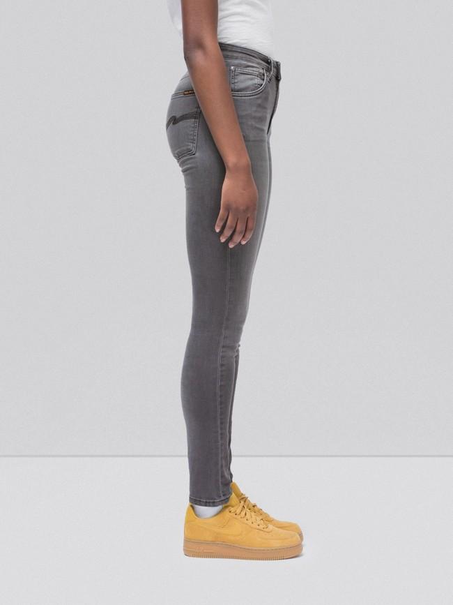 Jean skinny taille haute gris délavé en coton bio - hightop tilde grey wash - Nudie Jeans num 2