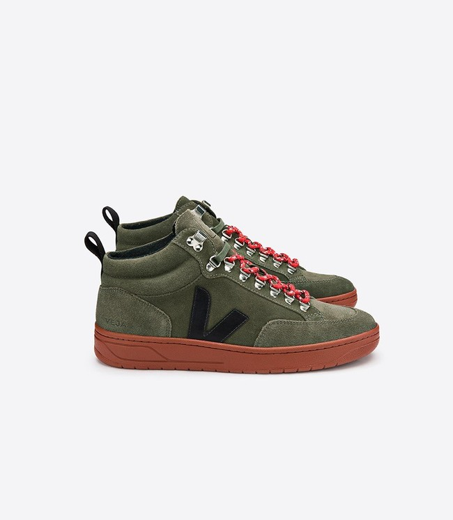Baskets hautes roraima suede olive black rust sole - Veja