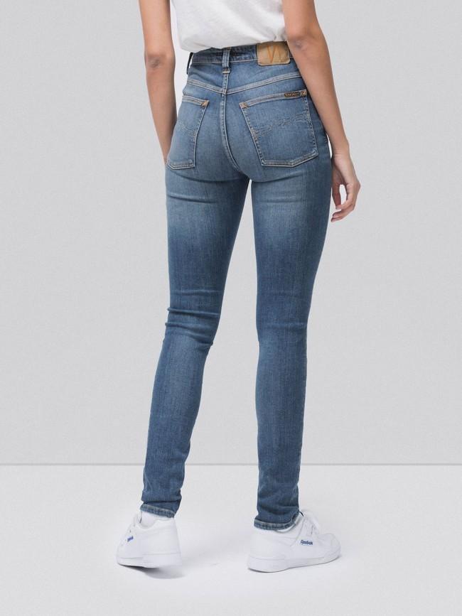 Jean skinny taille haute bleu clair délavé - hightop tilde mid indigo - Nudie Jeans num 1