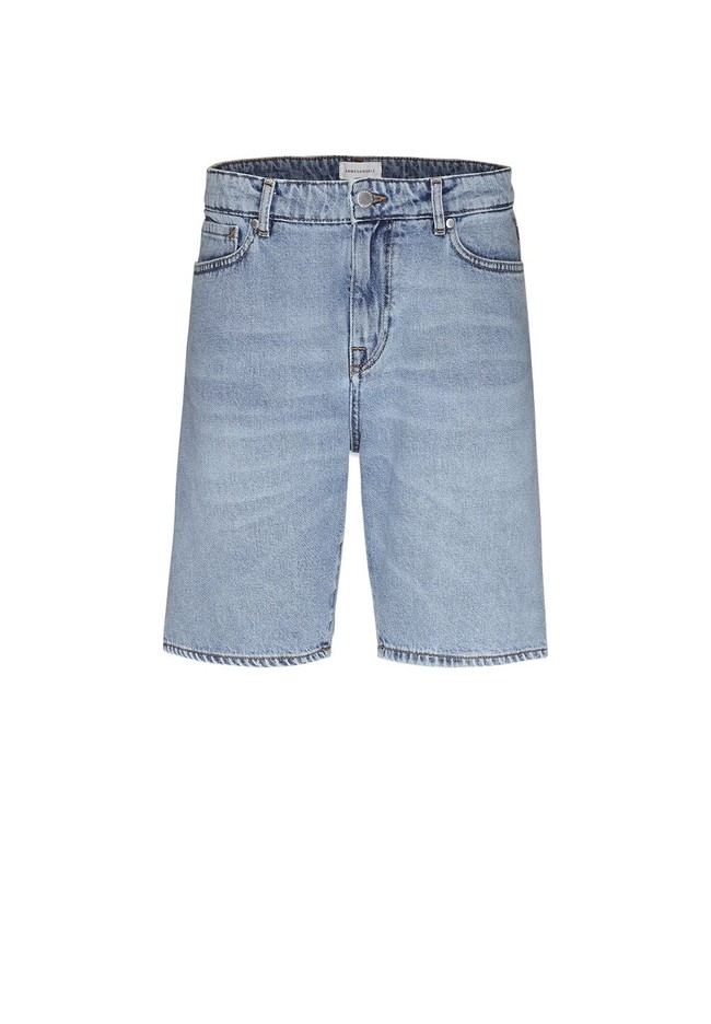 Short jean bleu clair délavé en coton bio - haauke - Armedangels num 4