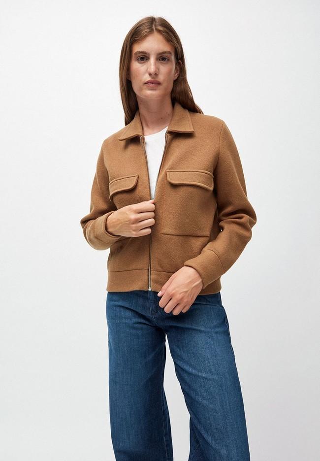 Veste marron en coton et laine bio  - alondraa - Armedangels