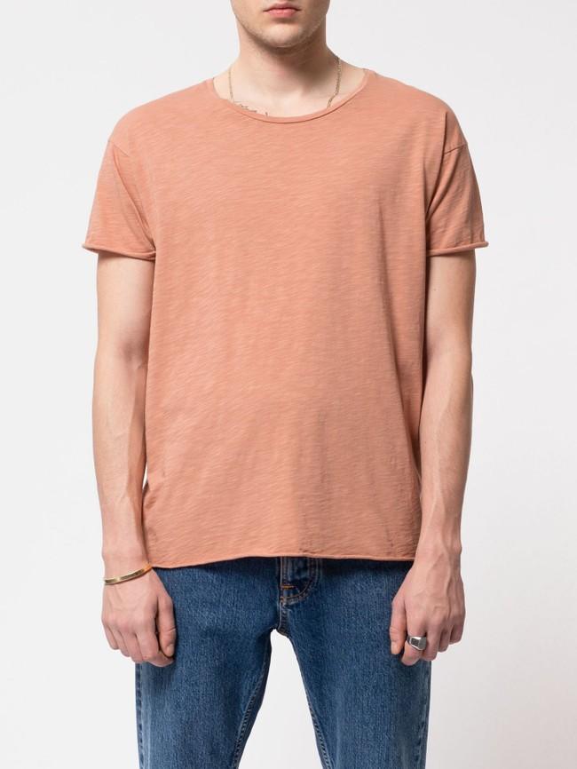 T-shirt ample pêche en coton bio - roger - Nudie Jeans