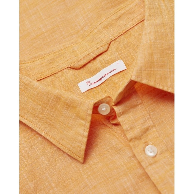 Chemise à manches courtes orange en lin et coton bio - larch - Knowledge Cotton Apparel num 1