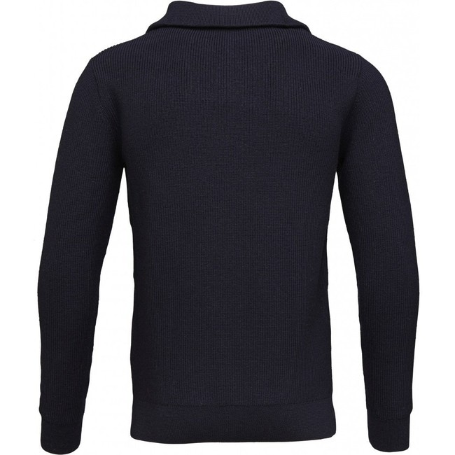 Pull col zippé marine en coton et laine bio - Knowledge Cotton Apparel num 1