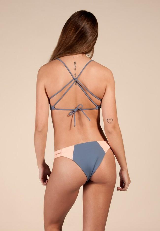 Haut de bikini bleu en polyamide recyclé - soller - Ocealah num 1
