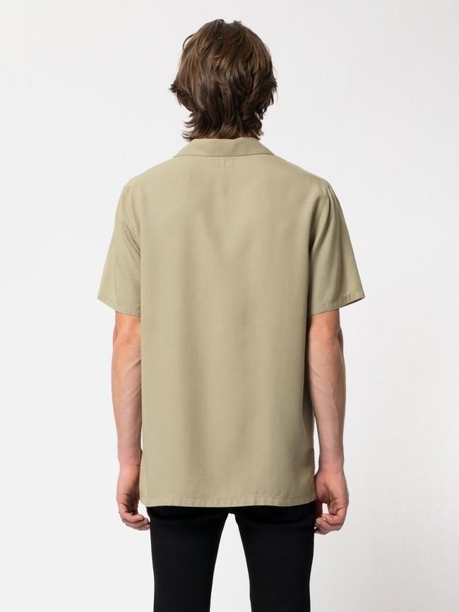Chemise manches courtes beige brodée en coton bio - arviid njco - Nudie Jeans num 4