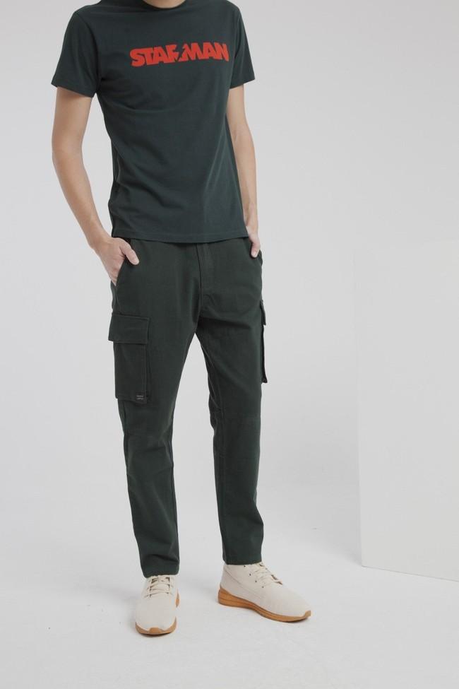 Pantalon cargo vert en coton bio - Thinking Mu