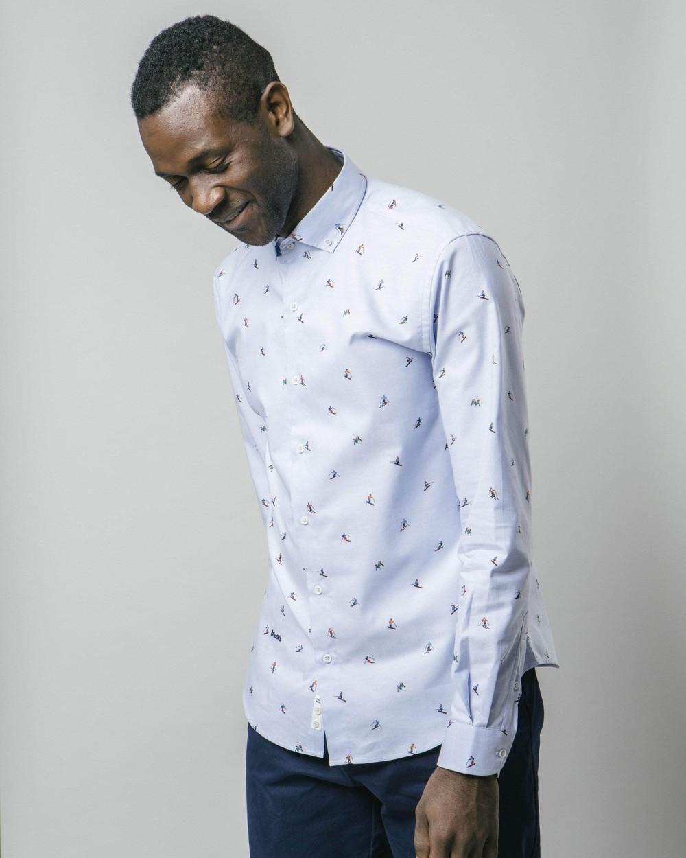 Slalom race blue printed shirt - Brava Fabrics