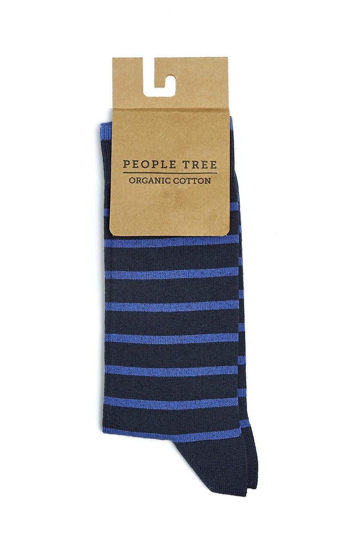 Chaussettes hautes rayées en coton bio - People Tree