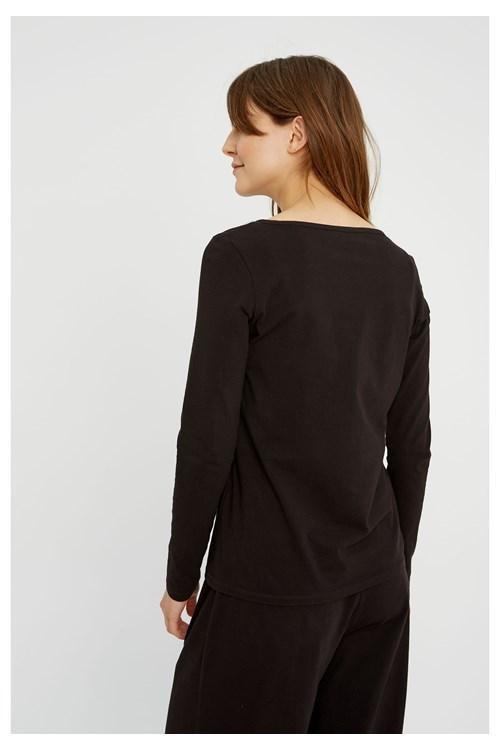 T-shirt à manches longues noir en coton bio - fallon - People Tree num 2