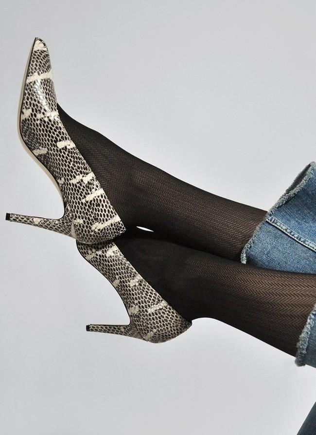Collants à motifs 40 deniers noirs recyclés - nina - Swedish Stockings num 2