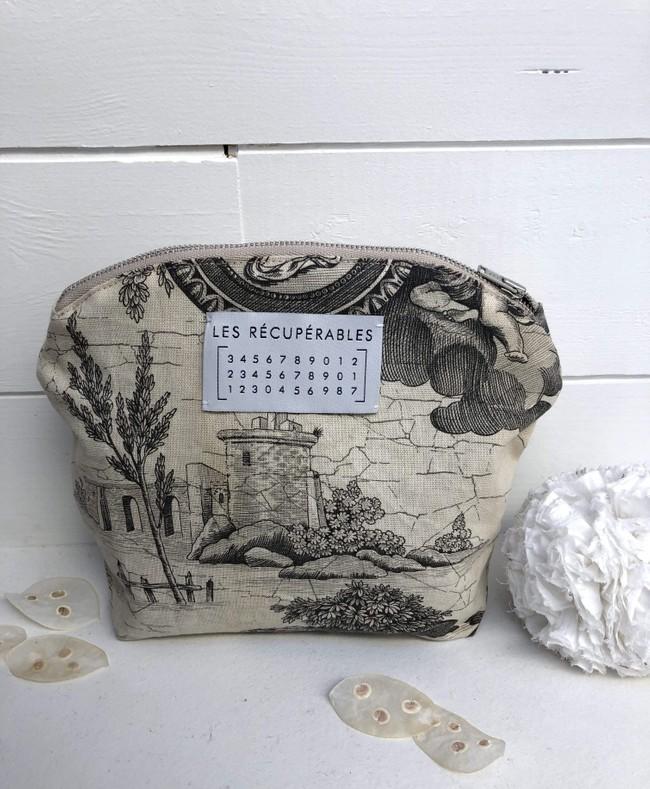 Trousse de toilette tissu toile de jouy - Les Récupérables