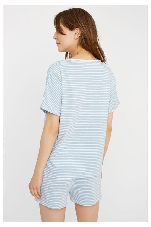 Haut de pyjama rayé bleu en coton bio - People Tree num 1