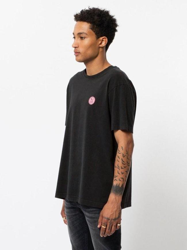 T-shirt noir logo rose en coton bio - uno njco circle - Nudie Jeans num 1