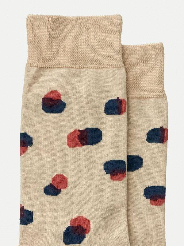 Chaussettes hautes beiges à pois en coton bio - olsson - Nudie Jeans num 1