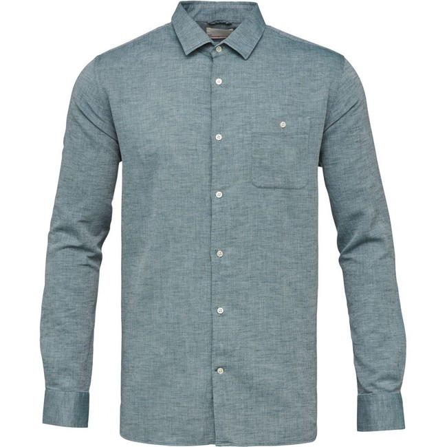 Chemise vert tissé en coton bio et lin - structured shirt - Knowledge Cotton Apparel