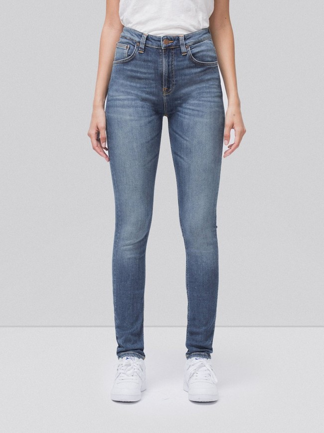 Jean skinny taille haute bleu clair délavé - hightop tilde mid indigo - Nudie Jeans