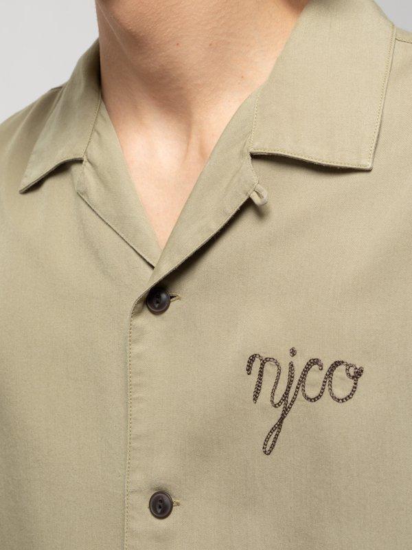 Chemise manches courtes beige brodée en coton bio - arviid njco - Nudie Jeans num 1