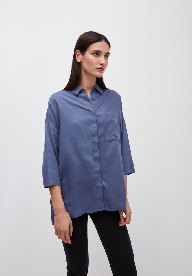 Chemise à manches courtes bleue en tencel - cassandraa - Armedangels