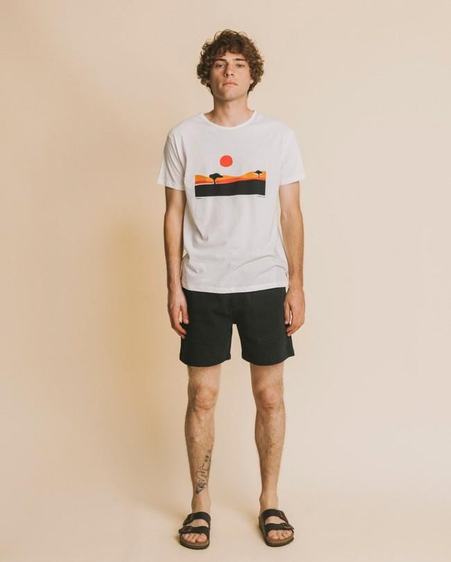 T-shirt blanc imprimé en coton bio - serengueti - Thinking Mu num 2